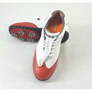 Кроссовки женские для гольфа PGM.  Цвет: белые с красными вставками  (р - 38)