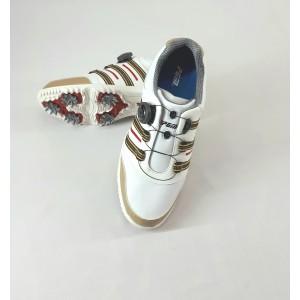 Кроссовки мужские для гольфа PGM. Цвет: белые с коричневыми вставками, застежка «Fitgo» - система быстрой шнуровки